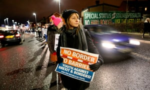 Protesters against Brexit and hard borders in Ireland, west Belfast, December 2017