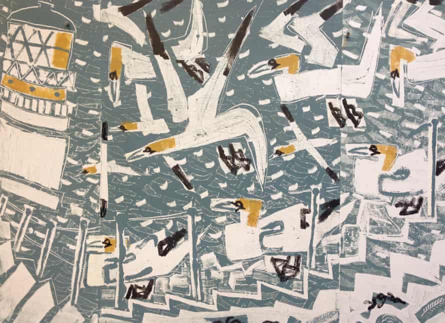 Gannets, Bass Rock, 2016,  monotype, by Greg Poole – 'as near to total gannet as seems possible'