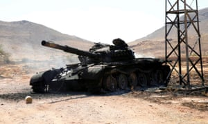 A destroyed tank south of Tripoli