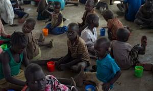South Sudanese children at a refugee camp in Imvepi, Uganda
