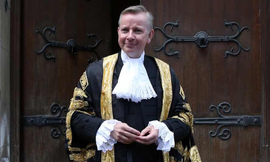 Michael Gove arrives at the Royal Courts of Justice to be sworn in as lord chancellor
