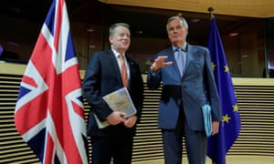David Frost and Michel Barnier in Brussels on 2 March.