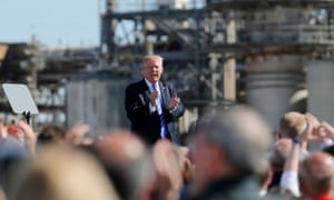 Trump talks about the the tax code during an event with energy workers in North Dakota.
