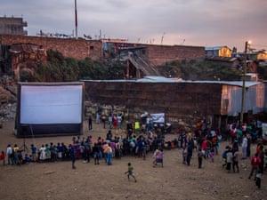 Sunset before a screening, Mathare, Kenya.