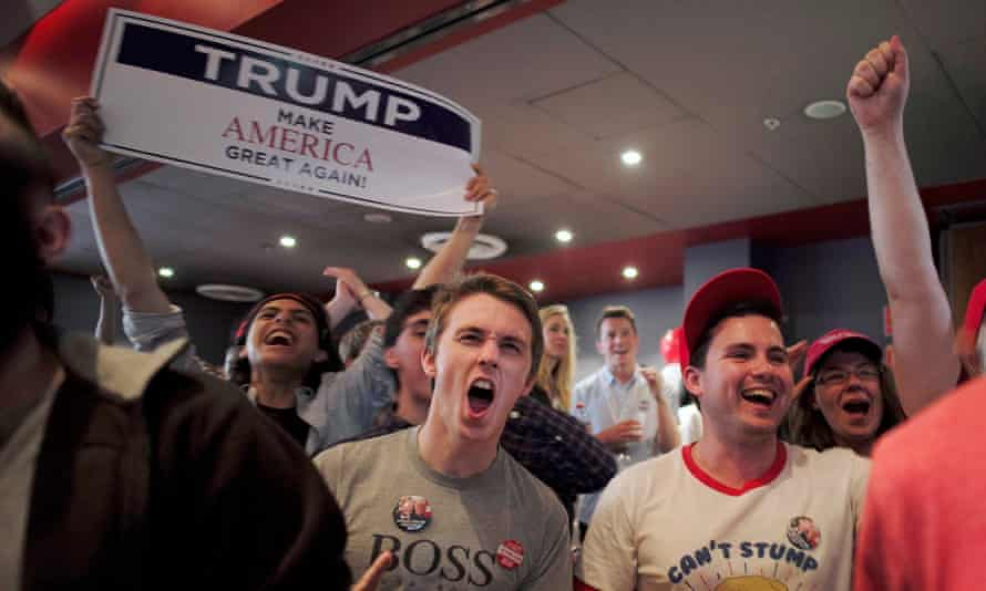 Supporters of Trump react as the state of Texas is called in his favour.