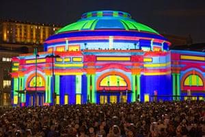 The Edinburgh international festival kicks off with a free outdoor digital performance, Five Telegrams