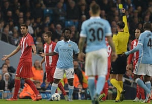 Wilfried Bony protests after receiving a yellow card.