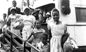 Passengers from the Caribbean arrive in Britain on the Begona liner in 1962.