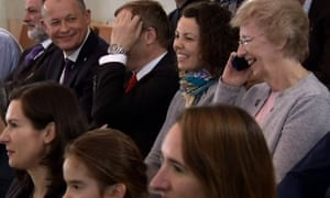 Tim Peake's mother, Angela, on the phone to her son.