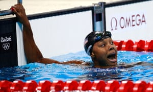 Simone Manuel celebrates winning her Olympic gold medal.