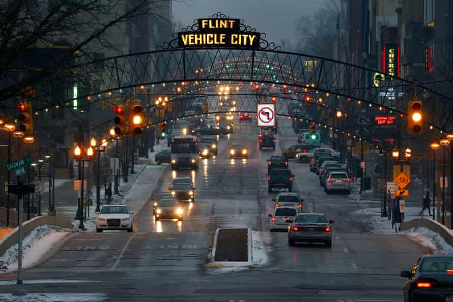 Downtown Flint, Michigan on 21 January 2016.