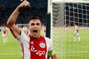 Dusan Tadic of Ajax celebrates scoring their second.