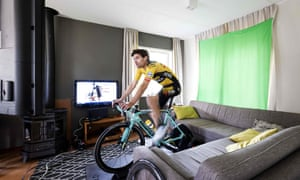 Dutch cyclist Tom Dumoulin rides during the virtual tour of the Amstel Gold Race at a holiday home in Valkenburg on Sunday – the first time in history, the tour has taken place virtually, also encouraging cycling fans to participate in the 26km race, as people are confined to their homes as the Netherlands tries to contain the spread of Covid-19