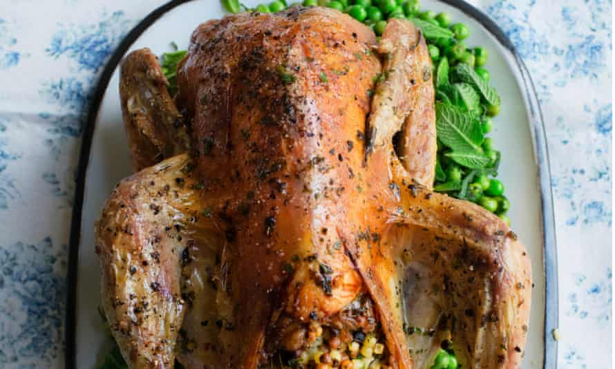 Sunday best: roast guinea fowl, fregola stuffing and peas with lemon and mint.