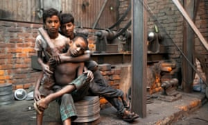 Children, like these working inside this aluminium pot factory in Dhaka, constitute 15.2 million of those trapped in modern slavery according to the latest global figures.