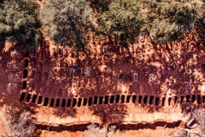 Johannesburg: A row of freshly dug graves at a section of a cemetery