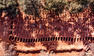 This arial picture taken on 19 July 2020 shows a row of freshly dug graves at a coronavirus section of a cemetery in Johannesburg, South Africa.