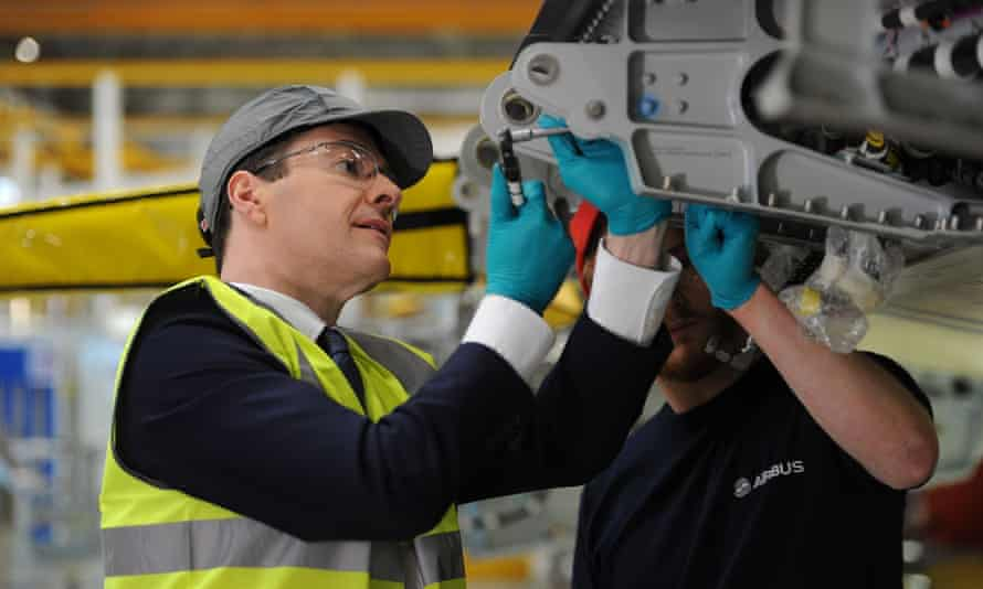 George Osborne at the Airbus factory in Filton, Bristol.