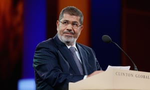 Mohamed Morsi speaking at the Clinton Global Initiative meeting in New York in 2012.