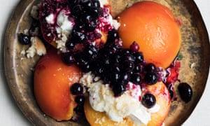 Peachy: baked peaches, ricotta and blackcurrants.
