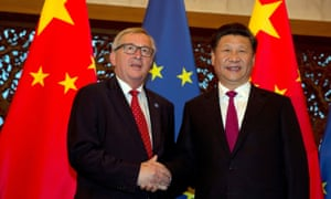 Chinese president Xi Jinping and European Commission president Jean-Claude Juncker in 2016. The EU-China document describes climate change as a 'national security issue'.