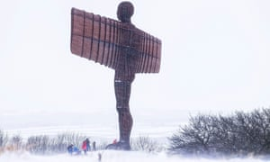 Sledging at the Angel of the North.