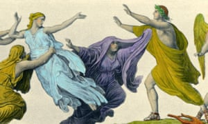 A classical painting in which Eurydice is taken away from Orpheus by Eduard Engerth
