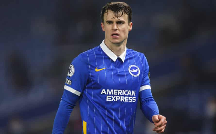Solly March in action for Brighton against Tottenham in the Premier League this season.