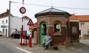 An old custom post on the border between Belgium and France in Alveringem, Belgium.