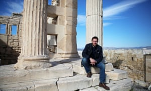 Michael Scott on the steps of the Erechtheion at the Acropolis.