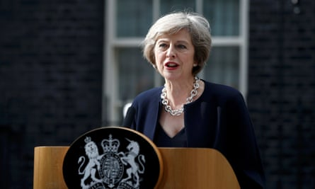 Theresa May speaks to the media outside Number 10.