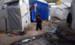 A child in the Moria refugee camp on Lesbos, Greece
