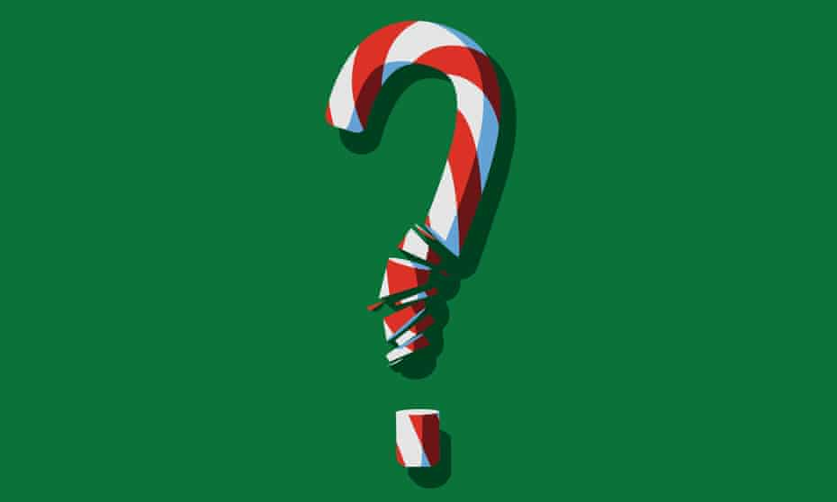 christmas quiz illustration of a broken candy cane