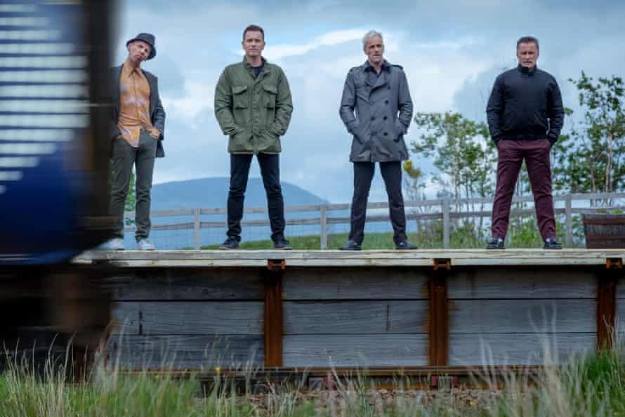 T2 on track … from left, Spud (Ewen Bremner), Renton (Ewan McGregor), Sick Boy (Jonny Lee Miller) and Begbie (Robert Carlyle).