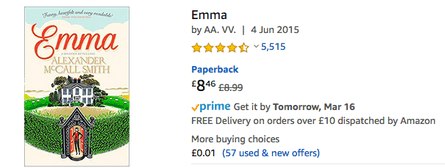 Screengrab of reviews for Alexander McCall Smith's Emma