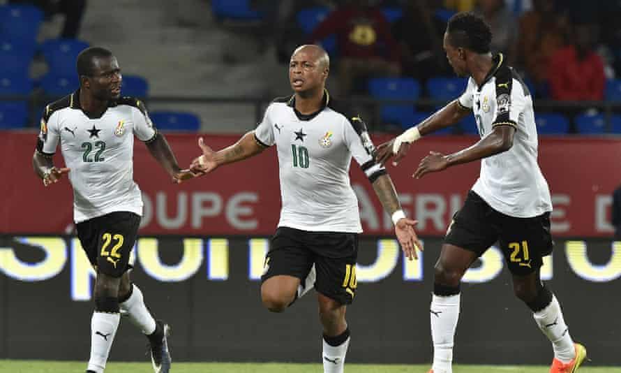 André Ayew, centre, celebrates scoring Ghana's winning goal against Democratic Republic of Congo.