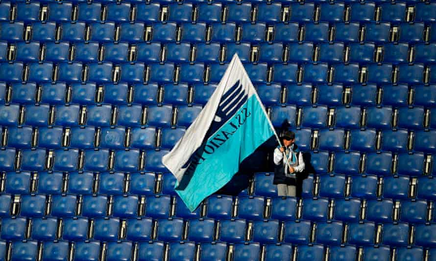 A young Lazio supporter amid empty seats at their 2-0 home win over Bologna – the last match they played before the Serie A shutdown.