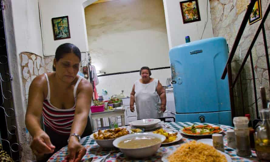 Dinner time at Nivia Melendez's casa particular in Santiago de Cuba.