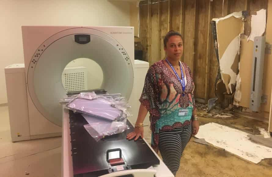 Tina Comissiong with the US Virgin Islands' only MRI scanner – now out of action.