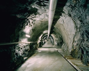 Man-made tunnels run deep into the core of the mountains linking the bunkers