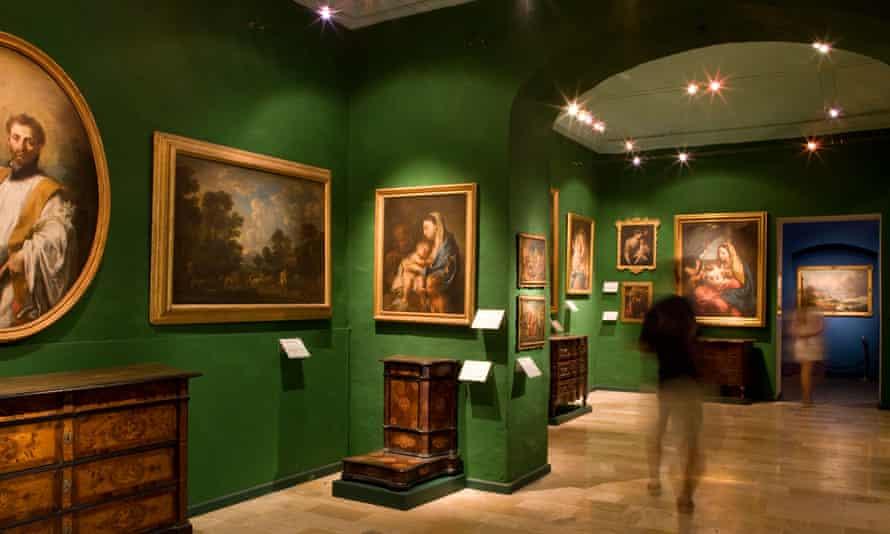 Interior of a gallery in the National Museum of Community Art (Muza), Valletta, Malta.