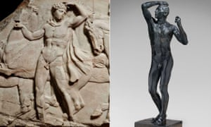 Translated from the Greek… A youth preparing for the cavalcade, left, from the north frieze of the Parthenon, c438-432BC. Right: The Age of Bronze, 1877 by Rodin. © Musée Rodin