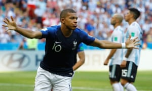 Kylian Mbappé celebrates scoring his first goal to put France ahead of Argentina for the second time.