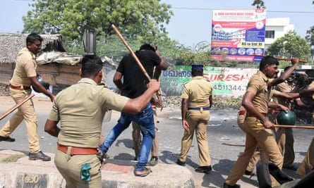 Police and demonstrators clash.