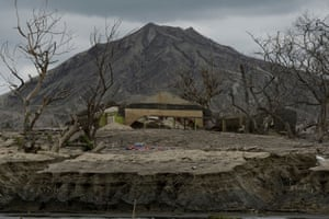 Damaged structures a year after the volcano erupted