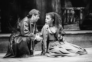 Ron Cook and Sophie Okonedo in A Jovial Crew by Richard Brome at the Swan theatre, Stratford-upon-Avon, 1992.