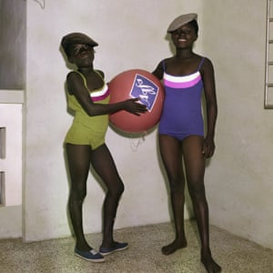 Mavis and Mary Barnor with an Agfa advertising ball in 1970