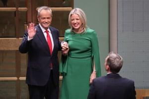 The opposition leader, Bill Shorten, with Chloe Shorten
