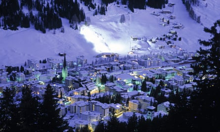 Davos in the snow at night