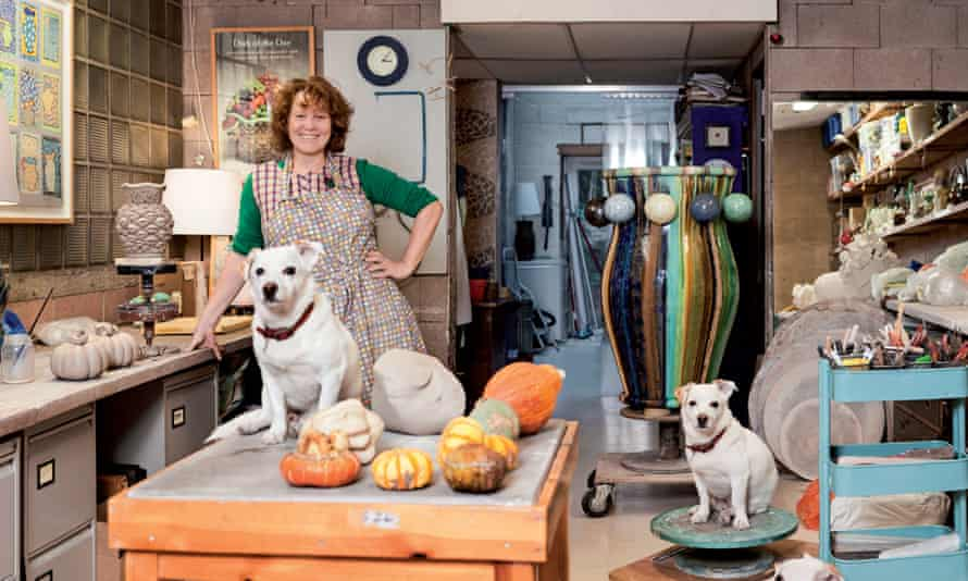 Kate Malone at home with her two dogs.
